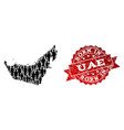 crowd collage of mosaic map of united arab vector image vector image