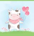 cute baby cow watercolor style vector image vector image