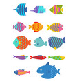 Cute fish flat set icon