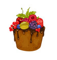 delicious cupcake with chocolate and berries vector image vector image