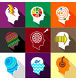 different man heads icons set flat style vector image vector image