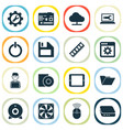 digital icons set with cooler man with laptop vector image vector image