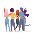 diverse friend group people hugging together vector image vector image