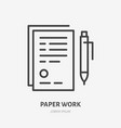 document with pen flat line icon sign paper vector image vector image