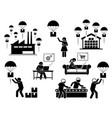 drop shipping business model icon set of vector image