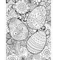 Easter eggs and flowers coloring page vector image vector image