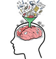 filling a brain with funnel vector image