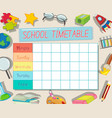 gf ii backtoschool timetable 03 vector image vector image