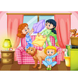 Girls playing pillow fight in living room vector image vector image