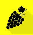 grapes sign black icon with flat vector image vector image