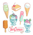 hand drawn ice cream set isolated on white vector image vector image