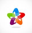 hands circle teamwork logo vector image vector image
