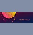 happy diwali beautiful decorative banner design vector image vector image