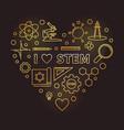 i love stem golden outline heart vector image vector image