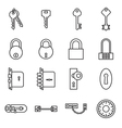 Icons of keys and locks vector image vector image