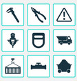industry icons set with man with drill calipers vector image