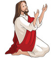 jesus kneeling in prayer vector image vector image