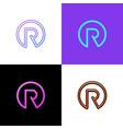 letter r logo in circle shape symbol digital vector image