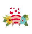 love card with hearts isolated icon vector image