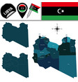map of libya with named districts vector image vector image