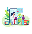 medical consultation internet with doctor vector image