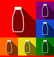 milk bottle sign set of icons with flat vector image vector image