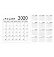 mockup simple calendar layout for 2020 year week vector image