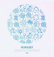 neurology concept in circle with thin line icons vector image vector image