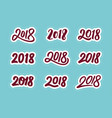 new year 2018 calligraphic numbers set vector image vector image
