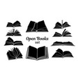 open book black silhouettes set vector image