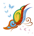 Ornamented abstract colorful butterfly vector image