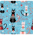 pattern in love cats vector image vector image