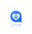 paw and heart pet related logo vector image
