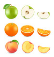 realistic cut fruits isolated on white background vector image vector image