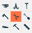 repair icons set with screw handsaw shears vector image