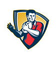 Rugby Player Running Ball Shield Retro vector image vector image