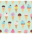 seamless pattern with kawaii ice cream cones vector image vector image