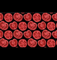 seamless pattern with tomatoes in a cut on black vector image vector image