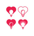 set love bulb icon design vector image vector image