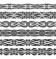 set of black seamless borders vector image