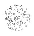 set of design elements dog breeds awards heart vector image