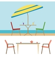 Summer Beach Furniture Flat Set vector image vector image