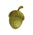 textured cartoon acorn on white background vector image vector image