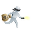 thief with money and flash light vector image vector image