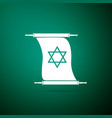 torah scroll icon isolated on green background vector image