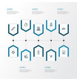 warfare outline icons set collection of atomic vector image vector image