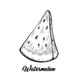 watermelon piece black and white vector image vector image