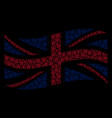 waving uk flag collage of star pentagram icons vector image vector image