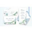 wedding stationery set dusty blue ivory green vector image vector image