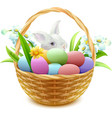 Wicker basket with Easter eggs flowers and bunny vector image